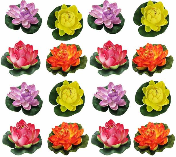 TIED RIBBONS Artificial Floating Lotus Flowers And Rubber Leaf (Multicolour, 16 Pieces) Multicolor Lotus Artificial Flower
