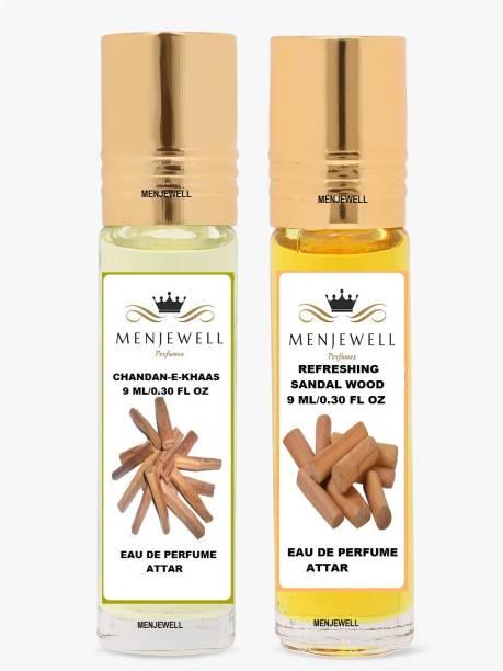 Menjewell Pack of 2PC Attar (Chandan-E-Khaas 9ML,ReFreshing sandalwood 9ML)Natural Itra/Attar/ Perfume Floral Attar