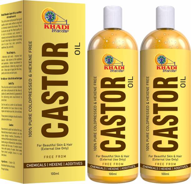 KHADI BHANDAR Premium Cold Pressed Castor Oil For Hair And Skin - Pack of 2