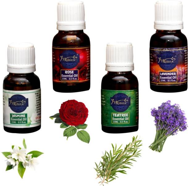 MORIOX Jasmine, Rose,Tea Tree & Lavender Essential oils Pack of 2 for Hair,Skin & Aromatherapy 100% Pure & Natural Oils (15ml)