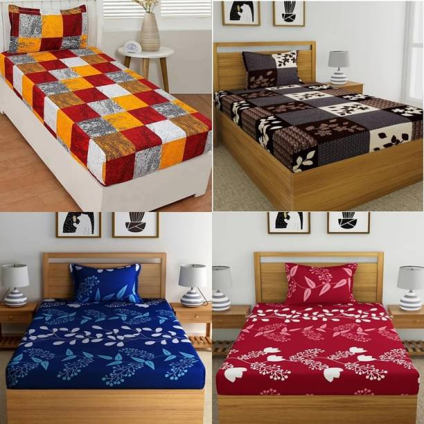 HSR Collection 160 TC Cotton Single Floral Bedsheet