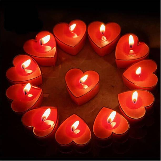 PartyballoonsHK 10Pcs Tealight Candles, Romantic Heart-Shaped Rose Scented Candles for Anniversary Valentine's Day Wedding Birthday Christmas Decorations (Romantic Red) Candle
