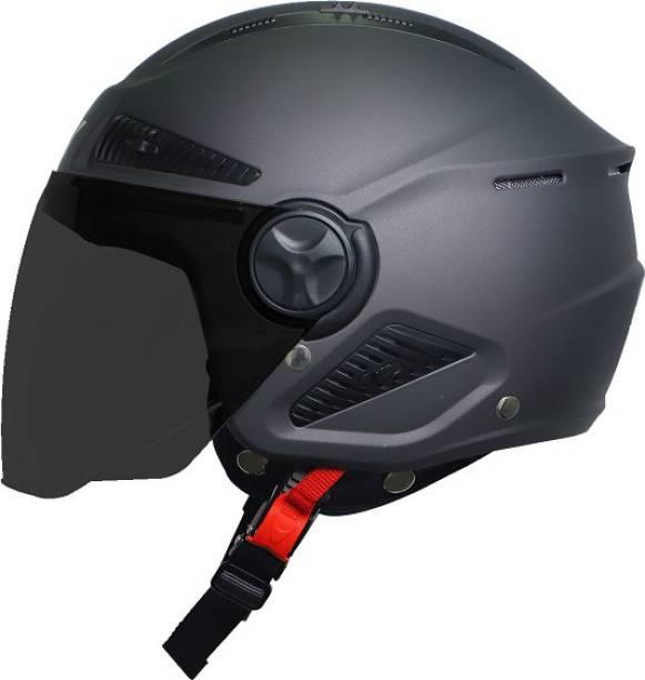 Steelbird Open Face Helmet, ISI Certified Helmet in Matt H. Grey with Smoke Visor Motorbike Helmet