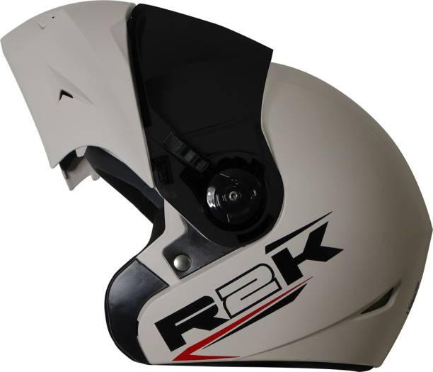 Steelbird R2K OSKA Reflective ISI Certified Flip Up Helmet Dashing White Motorbike Helmet