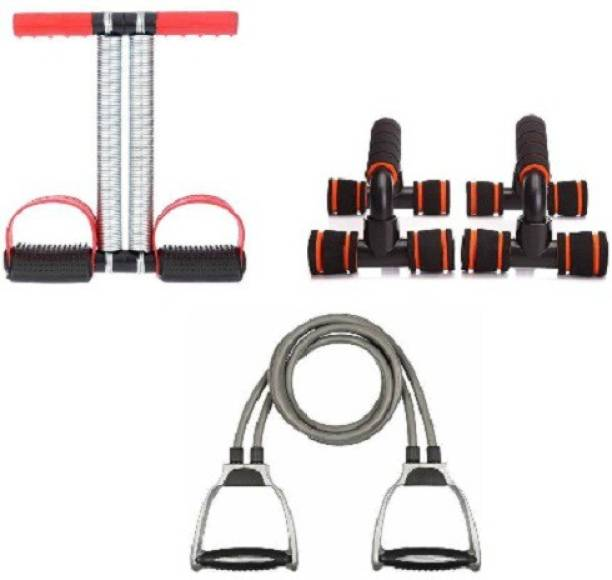 VATSMART HOME GYM EQUIPMENT EXERCISER OF DOUBLE SPRING TUMMY TRIMMER WITH PUSH UP STAND AND TONING TUBE Home Gym Kit