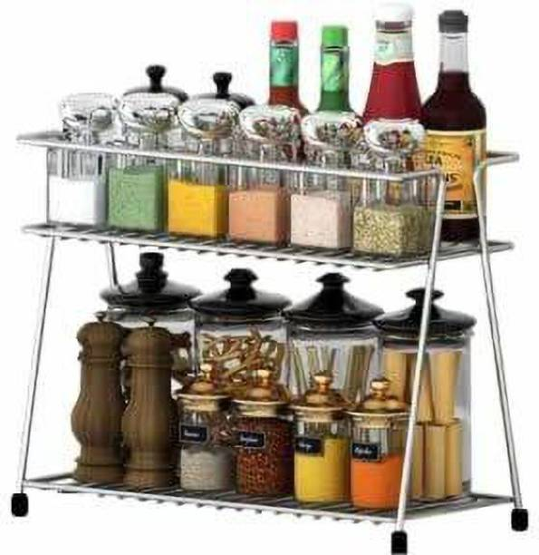 Empire Mart Stainless Steel Spice 2-Tier Trolley Container Organizer/Basket for Boxes Utensils Dishes Plates for Home (Multipurpose Kitchen Storage Shelf Shelves Holder Stand Rack) Utensil Kitchen Rack