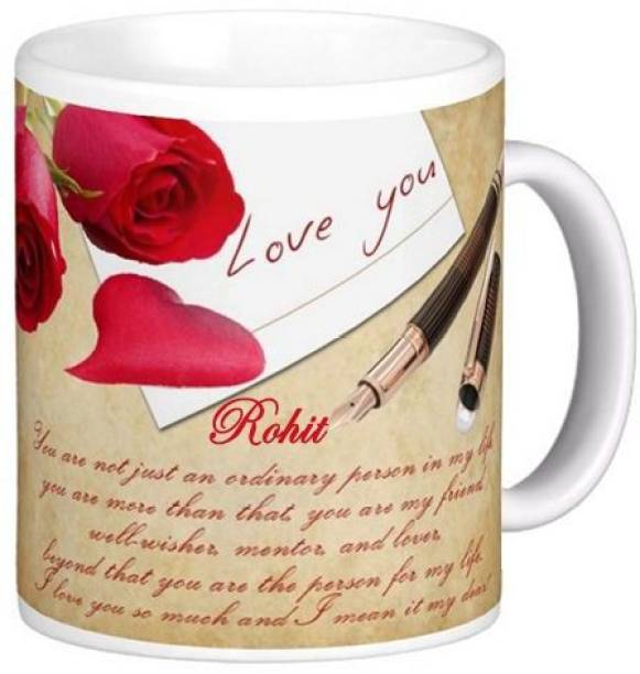 Exoctic Silver I Love You Rohit Romantic Quote 84 Ceramic Coffee Mug
