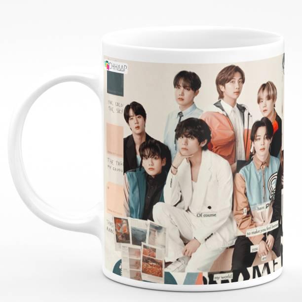 "CHHAAP ""BTS"" Printed Ceramic White Tea and Coffee Ceramic Coffee Mug"