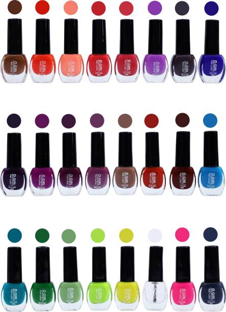 o girl Nail Polish, Nail Luster, Long lasting and Quick Drying - Shining Shade - Pack of 24 (Transferan,Hot Margenta,Violet,Purple,Violet Lavender,Raw Peach,Mulberry,Chocklet Brown,Peach,Baby Pink,Sky Blue,Neon Violet,Lemon Yellow,Pine Green,Perrot,Neon Orang,Oxford Blue,Pink,Emerald,Green Yellow,Deep Red,Cherry,Blue Sapphire,Wine) OGIRL  (Pack of 24) Multicolor