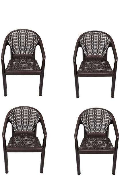 ITALICA ( SHREE GANESH ONLINE ) original seller 5202 oxy series chairs - modern stackable plastic standard armchair (matte finish, brown, set of 4) Plastic Outdoor Chair