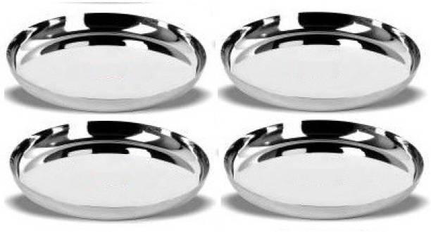 LIMETRO STEEL Pack of 4-D4 Heavy(22) Gauge Stainless Steel Rectangular Bhojan / Lunch / Dinner Plate Dinner Plates ( Size : 29.5 cm, 4 Pieces ) Dinner Plate