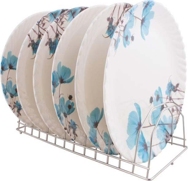 Golden Fish Unbreakable Melamine Round Full Dinner Plates (Set of 6) (GF-22-Multi) Dinner Plate