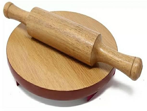 eKitchen Wooden Chakla Belan Rolling Board Chapati and Roti Maker Rolling Pin & Board (Beige, Pack of 2) Rolling Pin & Board