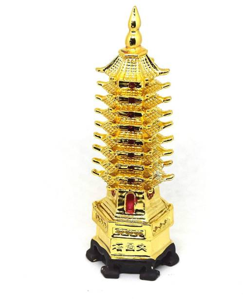 RUDRA DIVINE Education Tower Golden Feng Shui Education Tower For Academic Success For Child's Study Table / Fengshui Home Decor Education Tower on a chinese Dragon Turtle/Tortoise For Study Room Gifting Home Decoration Decorative Showpiece  -  15 cm