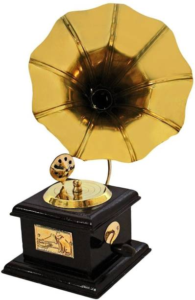 Fashion Bizz ANTIQUE SHOWPIECE BRASS AND WOODEN GRAMOPHONE Decorative Showpiece  -  23 cm