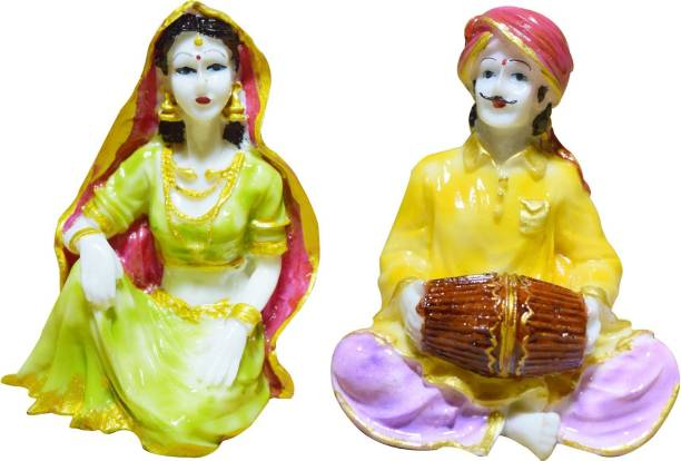 GW Creations Rajasthani Musicians Statue Polyresin Multicolour Marble Finish ( Set of 2 ) Decorative Showpiece  -  13 cm