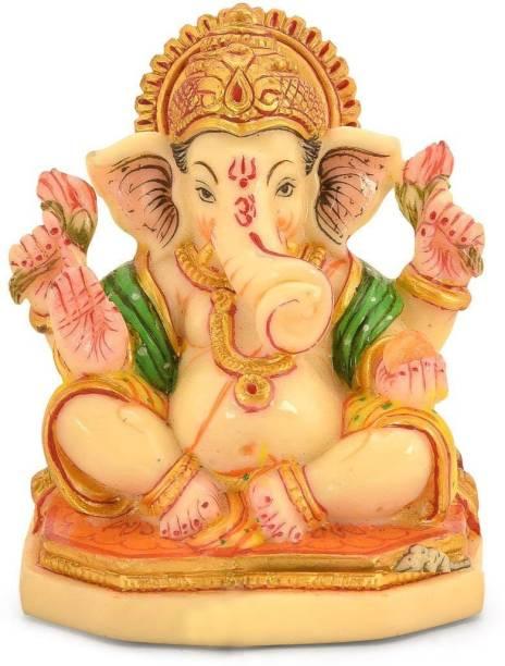Collectible India Poly Marble Lord Ganesha Statue God Ganesh Ganpati Sitting Idol Home Office Temple Showpiece Decor(Size: 3.7 x 3 inches) Decorative Showpiece  -  9.39 cm
