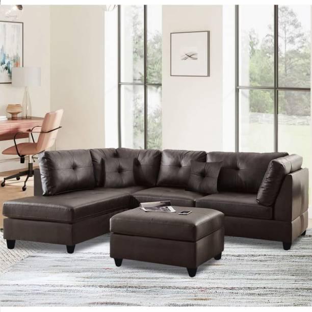 FURNY Brekosta LHS L Shape Leatherette 5 Seater  Sofa