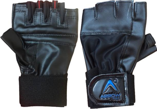 ArrowMax TRAINER LEATHER CYCLING AND GYM GLOVES WITH WRIST SUPPORT Gym & Fitness Gloves Gym & Fitness Gloves