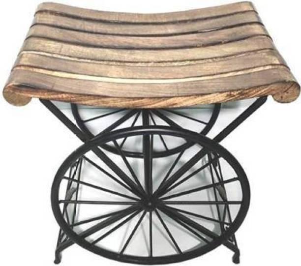 Celebraition Enterprises Wooden & iron stool wheel shape stool Living & Bedroom Stool