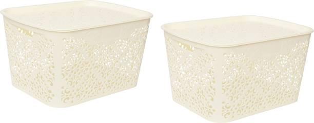 Cutting EDGE Medium Turkish Baskets Medium with Lid for Kitchen, Vegetables, Toys, Books, Office, Stationery, Utility, Cosmetics, Accessories, Closet, Wardrobe - White, Set of 2 Storage Basket