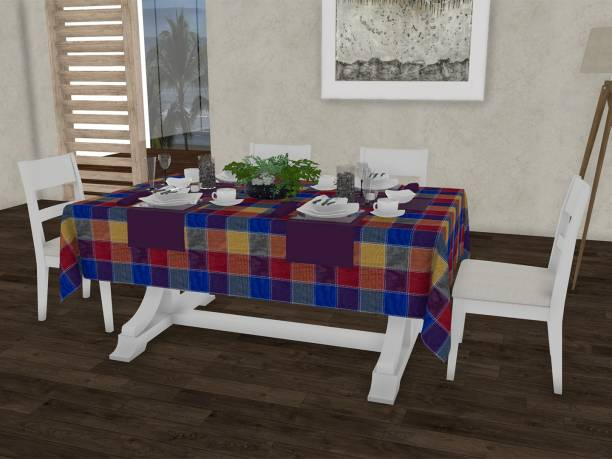 Lushomes Checkered 6 Seater Table Cover