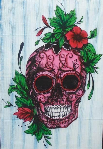 Heyrumbh Handicrafts Skull Flower Mandala Hippie Psychedelic Boho Bohemian Cotton Decorative Wall Hanging Tapestry Tapestry