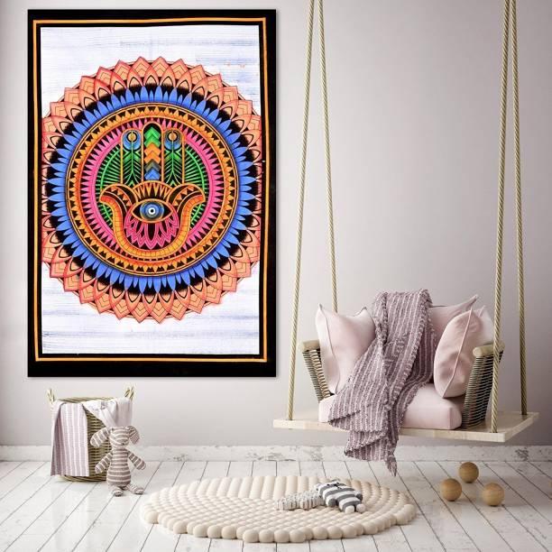Heyrumbh Handicrafts Good Luck Hamsa Fatima Hand Mandala Hippie Psychedelic Boho Bohemian Cotton Decorative Wall Hanging Tapestry Poster 40 X 30 Inches Tapestry