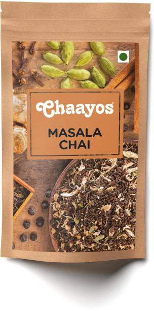 Chaayos Premium Masala Chai Patti - Healthy Tea with Natural Spices (Ginger, Clove, Cinnamon, Candamom) (100 Cups) Spices Tea Pouch