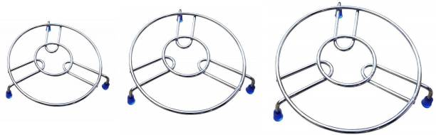 Homeplus Kitchenware Stainless Steel Hot Pot Stand 3 Pcs Steel Chrome Trivet