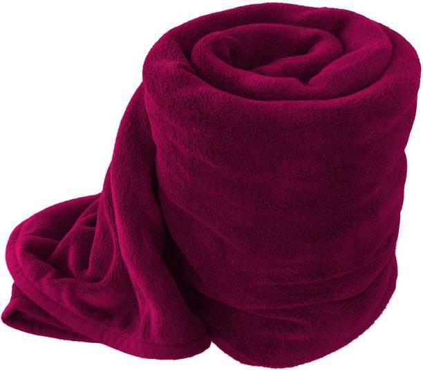 IVS HOME Solid Single Fleece Blanket