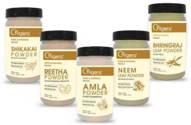 Origenz Amla Reetha Shikakai Bhringraj Neem Powder Combo Pack for Healthy Hair