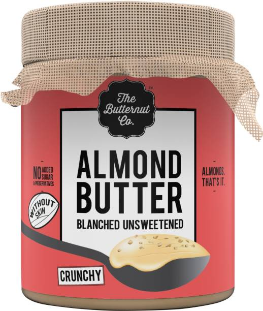 The Butternut Co. Blanched (Without Skin) Unsweetened Almond Butter, Crunchy Jar 200 g
