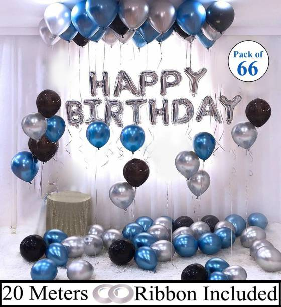 DECOR MY PARTY Solid Happy Birthday Silver Letter Foil Balloon Set with Metallic Balloons & Curling Ribbon For Birthday Boy Party Decoration / Birthday Boy Decorations Combo Letter Balloon
