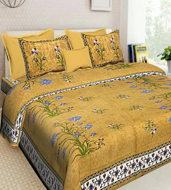 DREAMPOINT 210 TC Cotton Double King Floral Bedsheet