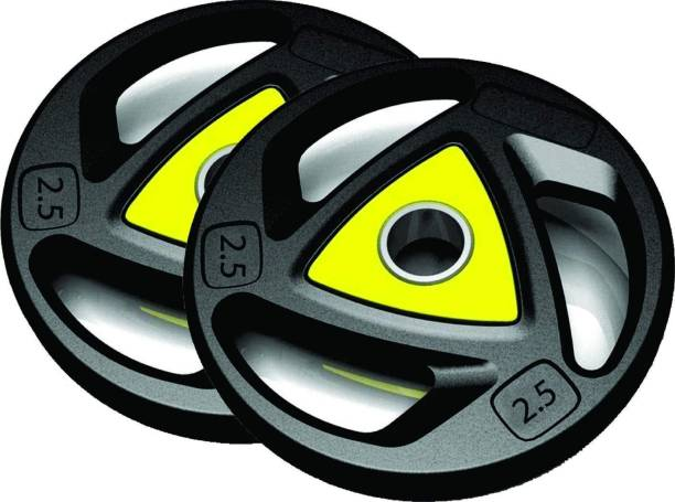 RIO PORT {2.5 KG X 4 = 10kg} Olympic Weight, Rubber Coated Iron Weight Plates Black, Yellow Weight Plate