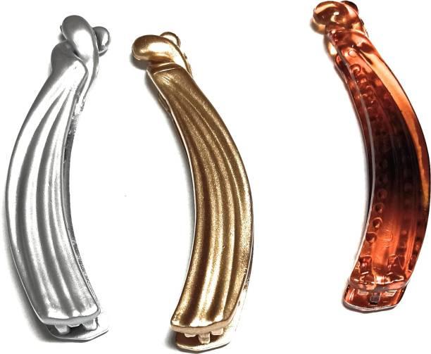 debnath traders Lines Design Silver, Golden and Brown Banana Clip Banana Clip