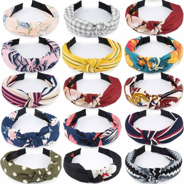 Pia Creations Fashion Knotted Headbands for Women, 20 Pcs Bow Knot Headbands Girls Cross Knot Hair Bands Turban Wide Headbands Hair Accessories for Thin Thick Hair(Random) Hair Band (Multicolor) Hair Band