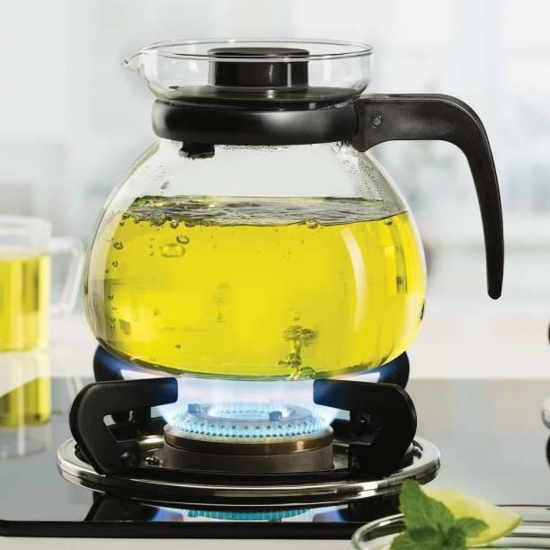 promise plus group 1000 L Water Glass Teapot with black plastic lid 1000ml (1pcs) Jug