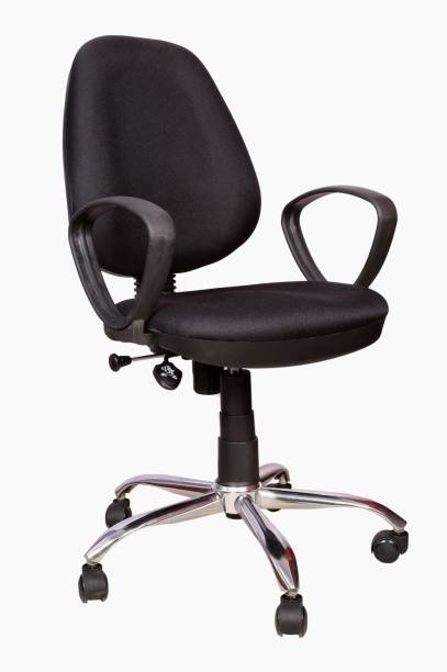 Rajpura 802 Cushioned Medium Back Revolving Chair with push back mechanism in Black Fabric Office Executive Chair