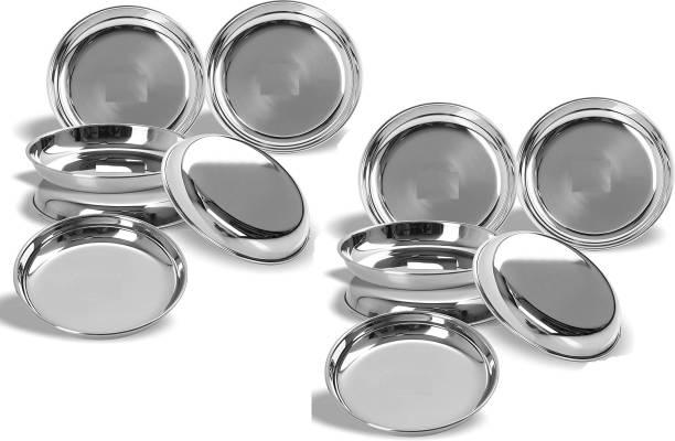 LIMETRO STEEL Stainless Steel Heavy Gauge Pack of 12 Halva Plates / Breakfast Plates / Serving Plates ( Diameter : 17 cm, 12 Pieces) Quarter Plate