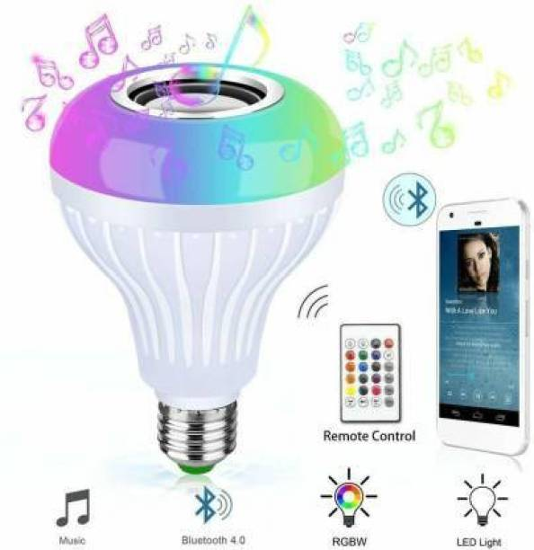 Lutain Multi Color Changing RBG Led Music Light Bulb Bluetooth Music Bulb Led For Party Home Decoration And Night Light WIth 7W RBG LED and 5 W bluetooth Sterio Speaker For Home Party Decoration, Birthday Celibration Night Light Smart Bulb