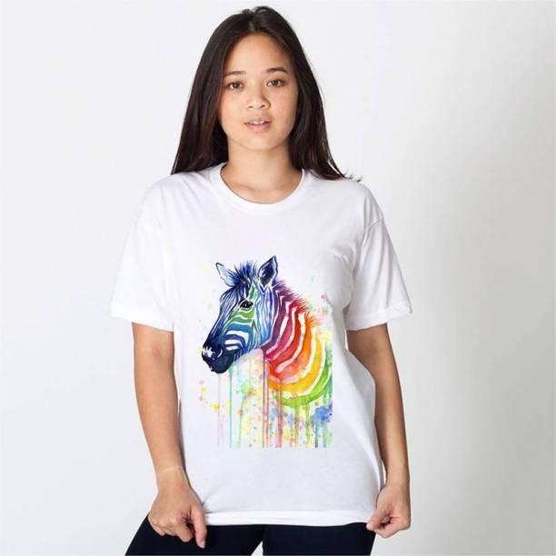 hamsa print world Printed Women Round Neck Reversible White T-Shirt