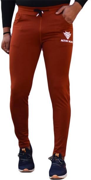 Acton Wilmer Solid Men Orange Track Pants