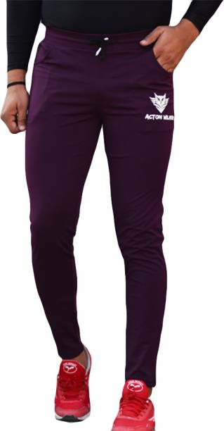 Acton Wilmer Solid Men Purple Track Pants