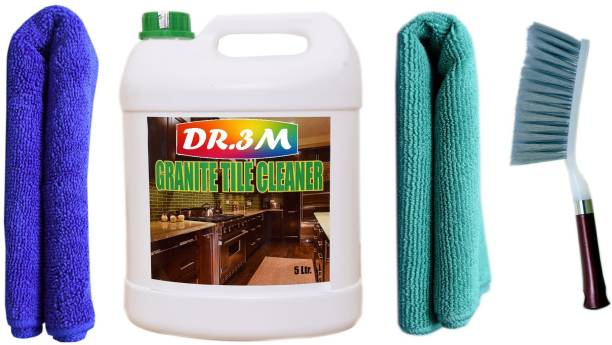 dr.3m GRANITE TILES CLEANER 5000ml. + 2PC MICROFIBER CLOTH ( BLUE+GREEN).+Cleaning Brush with Hard & Long Bristles