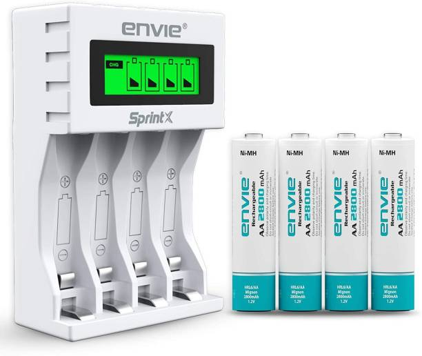 Envie Ultra Fast Charger ECR 11 MC For AA & AAA Ni-MH Rechargeable Batteries With 4xAA2800 Rechargeable Batteries | With Over Charge Protection  Camera Battery Charger
