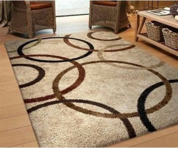RM Handloom Beige, Brown Polyester Carpet
