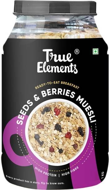 True Elements Seeds & Berries Muesli, High Fibre & Protein, Ready to Eat Breakfast