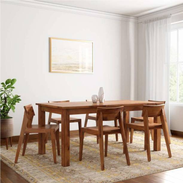 Woodware Solid Wood 6 Seater Dining Set